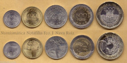 COLOMBIA FULL SET 5 COINS 50 100 200 500 1000 PESOS 2012-2015 KM 295 296 297 298 299 UNC - Colombia