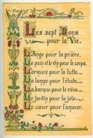 Proverbes Enluminés  Les Sept Dons Pour La Vie  Graveur Roussel  TBE - Philosophie & Pensées