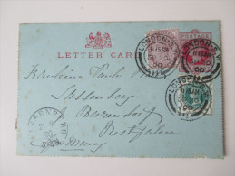 GB Kartenbrief. 3 Farben Frankatur! Sassenberg Stempel Preussen Nachverwendet, Späte Verwendung 21.9.1900!!!! - Briefe U. Dokumente