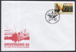 2015-FDC-6  CUBA 2015 FDC 55 ANIV DEL SABOTAJE DEL BARCO VAPOR LA COUBRE. ERNESTO CHE GUEVARA - FDC