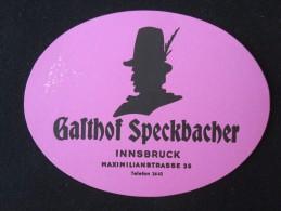 HOTEL GASTHOF SPECKBACHER INNSBRUCK WIEN VIENNA VIENA AUSTRIA OSTERREICH DECAL STICKER LUGGAGE LABEL ETIQUETTE AUFKLEBER - Hotel Labels