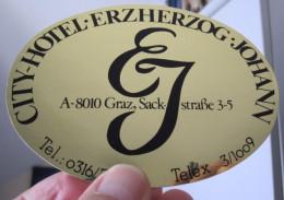 HOTEL GASTHOF ERZHERZOG GRAZ WIEN VIENNA VIENA AUSTRIA OSTERREICH DECAL STICKER LUGGAGE LABEL ETIQUETTE AUFKLEBER - Hotel Labels