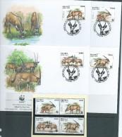 Eritrea 1996 WWF Beisa Oryx Antelope Set 4 Both MNH & On 4 Special FDC - Eritrea