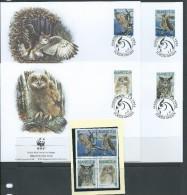 Aland Finland 1996 WWF Bird Owl Set 4 Both MNH & FU  On 4 Special FDC - Aland