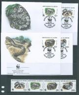Benin 1999 WWF Snake Python Set 4 Both MNH & FU  On 4 Special FDC - Bénin – Dahomey (1960-...)