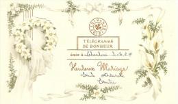 PK. TELEGRAMME DE BONHEUR - HEUREUSE MARIAGE - CHARLEROI 30/7/1949 - Noces