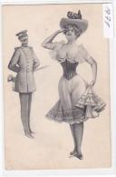 Woman And Military Man - Künstlerkarten