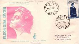 FDC Venetia DUSE  (1958)  ; No Viaggiata; Annullo Vigevano - F.D.C.