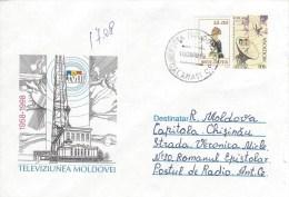Moldova Moldovei 1999 Calarasi Hop Bird Telecommunication Satellite Television Domestic Postal Stationary Cover - Moldavië