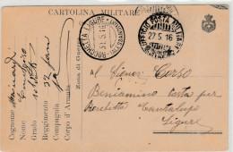 - Carte De Franchise Militaire ROCHETTA LIGURE ( ALESSANDRIA ) A.Z. Au Dos   Pli à Droite - 008 - 1915-1921 Protectorat Britannique