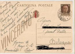 INTERO POSTALE  DA 30 CENT. VINCEREMO -SOPRASTAMPATA CON FASCETTO ROSSO SULLO STEMMA E REP.SOC. ITALIANA SULL'IMPRONT - 4. 1944-45 Repubblica Sociale