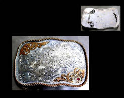 Boucle De Ceinture Américaine US Country Plaqué Argent / American Montana Platted Silver Belt Buckle Cowboy - Etnica