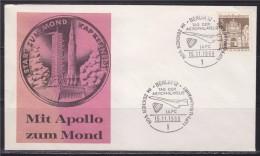 = Mission Apollo Vers La Lune Berlin 15.11.69 Timbre D'Allemagne  Concorde Sur Le Cachet - Europe
