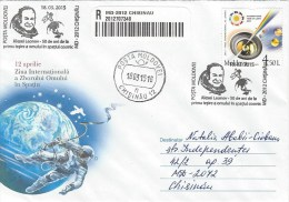 Moldova Moldovei 2015 Chisinau Light Year Cosmonaut Alexey Leonov Space-walk Voskhod 2 Mission Barcoded Registered FDC - Brieven & Documenten