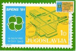 YUGOSLAVIA 1981 SPENS '81 Table Tennis Tournament Tax Stamp On Maximum Card - Maximum Cards