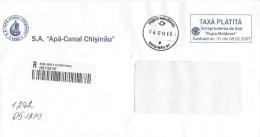 Moldova Moldovei 2014 Chisinau Unfranked Official Service Domestic Barcoded Registered Cover - Moldavië