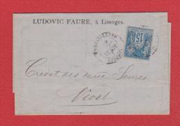 Bordereau //   De Limoges //   Pour Niort  //  23 Juin 1883 // - Postmark Collection (Covers)