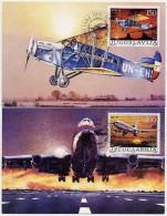 YUGOSLAVIA 1987 Civil Aviation On 2 Maximum Cards.  Michel 2213-14 - Maximum Cards
