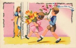 """ENFANTS - LITTLE GIRL - Jolie Carte Fantaisie Avec Paillettes Et Découpis Enfants Et Fleurs """"Bonne Fête Maman """" - IDA - Fête Des Mères"""
