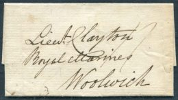 1823 GB Plymouth - Lieutenant Clayton, Royal Marines, Woolwich, London - ...-1840 Prephilately