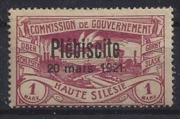 Germany (Oberschlesien) 1921  (*)  MH  Mi.40 (signed) - Territoires Soumis à Plébiscite
