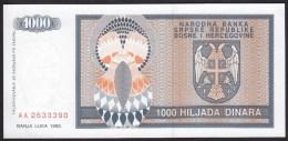 Bosnia & Herzegovina 1000 Dinara 1992 P137 UNC - Bosnia Y Herzegovina