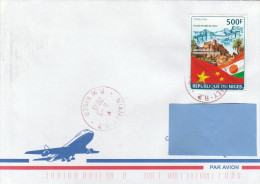 Z3] Enveloppe Cover Niger Diplomatic Relation Diplomatique Drapeau De Chine China Flag Grande Muraille Great Wall - Mao Tse-Tung