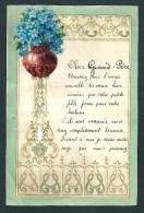 Lettre De Voeux Manuscrite. Bords Dorés En  Relief. Collage  Bouquet De Myosotis. Ecrite à Dison En 1936. - Vieux Papiers