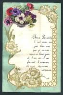 Lettre De Voeux Manuscrite. Bonne Année. Bordée D´un Relief Art-nouveau Doré. Collage Bouquet D´anémones. 1936. - Vieux Papiers