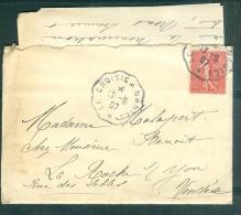 LAC  ( Lettre ) Affranchie Par Yvert N°129 Oblitéré Convoyeur , Ambulant Le Croisic à Nantes  En 1907  - Am10010 - Marcophilie (Lettres)