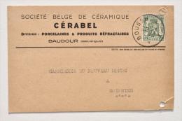 BAUDOUR : CP En-tête CÉRABEL - Division Porcelaine & Produits Réfractaires Vers Carrières SOIGNIES, 1938 - Saint-Ghislain