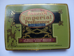 BOITE CIGARETTE - ABDULLA IMPERIAL PREFERENCE CORK TIPPED - LONDON - VIDE - METAL - Sigaretten - Toebehoren