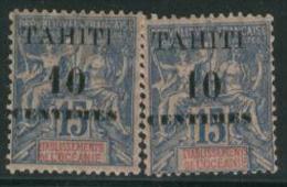 TAHITI 1903 10c On 15c Blue X 2 SG 57 HM EJ43