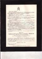BRUXELLES EVERE Alphonse MISSON époux Yvonne De WOUTERS D´OPLINTER 1880-1935 Doodsbrief Famille TIENEN - Décès