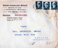 BUSTA POSTALE PUBBLICITARIA -BESOZZO-VARESE-AZIENDA COMMERCIALE BISIACHI-PRODOTTI DEL SUOLO-CENT.15 X 3 - Storia Postale