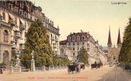SWITZERLAND - LUZERN - LUZERN - HOTEL SCHWEIZERHOF MIT HOFKIRCHE - TRAM, HORSE-DRAWN CARRIAGES - VINTAGE ORIGINAL PC - LU Lucerne