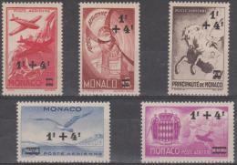 MONACO - 1945 Air Post Semi Postals Set Of Five. Scott CB1-5. Mint Hinged * Some Gum Discolouration - Poste Aérienne