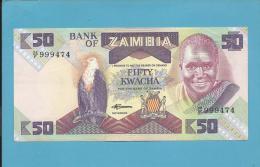 ZAMBIA - 50 KWACHA - ND ( 1986 - 88 ) - Pick 28 - Sign. 7 - UNC. - President K. KAUNDA - 2 Scans - Zambia