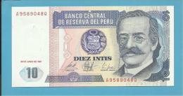 PERU - 10 INTIS - 26.06.1987 - Pick 129 - UNC. - RICARDO PALMA - 2 Scans - Perú