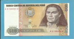 PERU - 500 INTIS - 26.06.1987 - Pick 134.b - UNC. - TUPAC AMARU II - 2 Scans - Perù