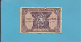 INDOCHINA - 20 CENTS - Sign. 14 ( 1942 ) - P 90 -  Gouvernement Général De L' Indochine - 2 Scans - Indochina