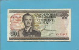 LUXEMBOURG - 50 Francs - 25.08.1972 - P 55.a - Grand Duke Jean - Sign.: LE MINISTRE DES FINANCES - 2 Scans - Luxembourg