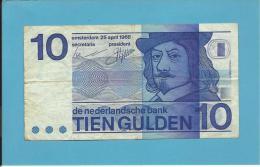 NETHERLANDS -  10 GULDEN - 25.04.1968 - Pick 91.b - FRANS HALS - 2 Scans - 10 Florín Holandés (gulden)