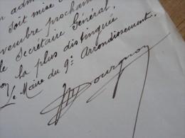 Marcel DOURGNON (1858-1911) Architecte - Musée LE CAIRE (Egypte) Maire PARIS 19ème - AUTOGRAPHE. - Autographs