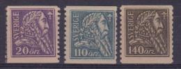 1921 SVEZIA SWEDEN SVERIGE 4° CENT. LIBERAZIONE DI SVEZIA 151/153 MH CAT. € 120,00 - Suède