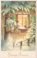 CP : Bonne année - nichoir  oiseaux, rouge-gorge , mésange , sapin , bougie - JC