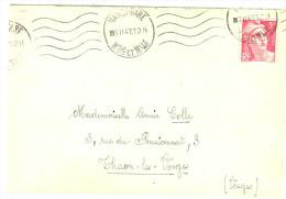 LGZ- GANDON 5fROSE SEUL SUR LETTRE NANCY / TAHON 6/2/1947 - 1945-54 Maríanne De Gandon