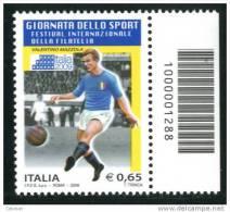 """ITALIA / ITALY 2009** - Giornata Dello Sport """"Valentino Mazzola - 1 Val. MNH Con Codice A Barre Come Da Scansione - 6. 1946-.. Repubblica"""
