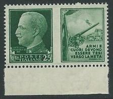 1942 REGNO PROPAGANDA DI GUERRA 25 CENT MNH ** - VA01-2 - 1900-44 Victor Emmanuel III.