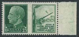 1942 REGNO PROPAGANDA DI GUERRA 25 CENT MNH ** - VA01-4 - 1900-44 Victor Emmanuel III.